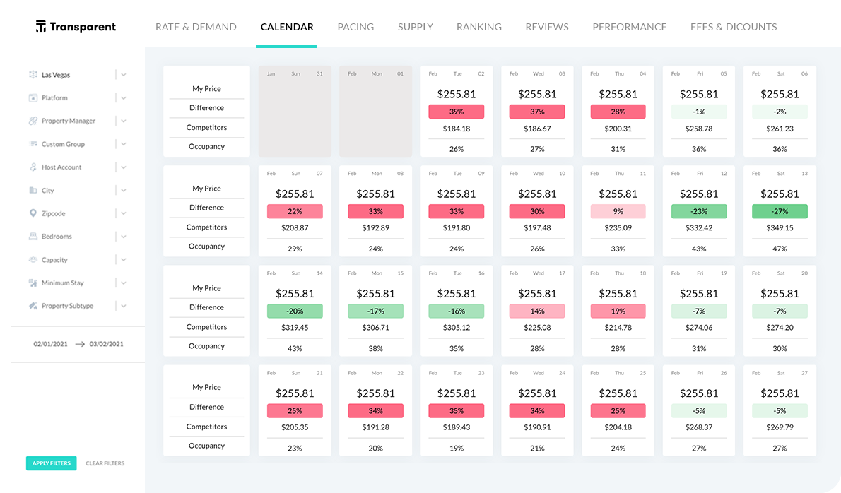 Transparent Smart Rental PRO data dashboard - Revenue Calendar